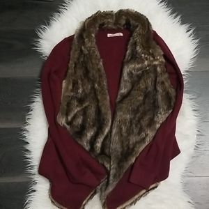 Hollister faux fur cardigan